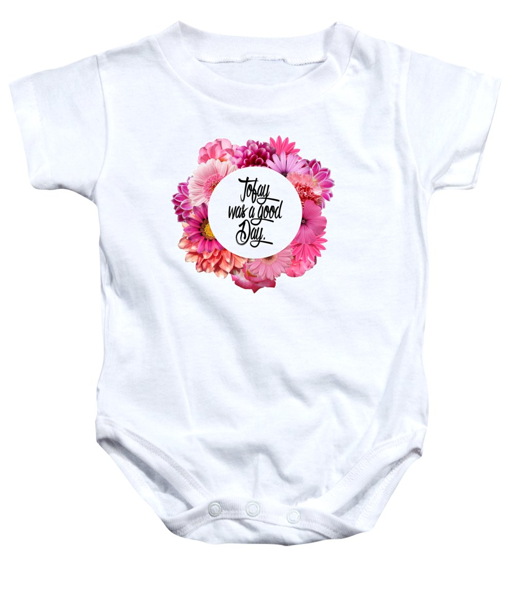 Pink Baby Onesie featuring the digital art Today by Art by Jamie B