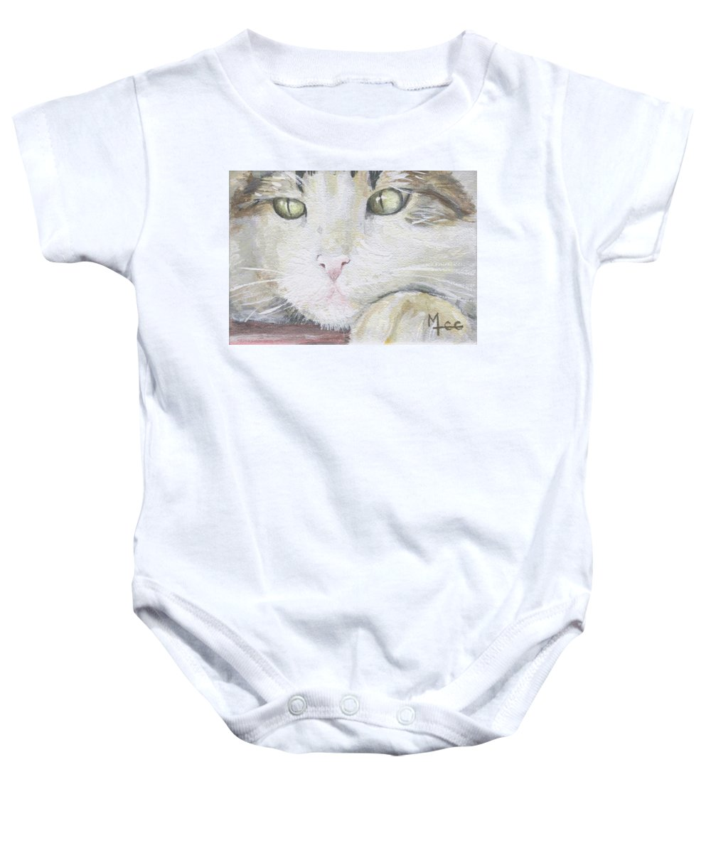 Charity Baby Onesie featuring the painting Tommy by Mary-Lee Sanders