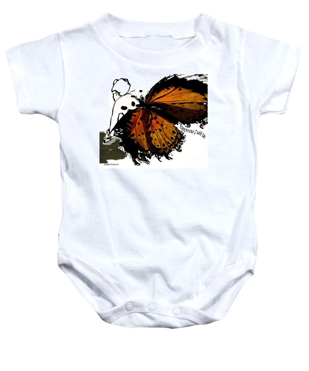 Woman Baby Onesie featuring the digital art Tomorrow I Will Be by Shelley Jones