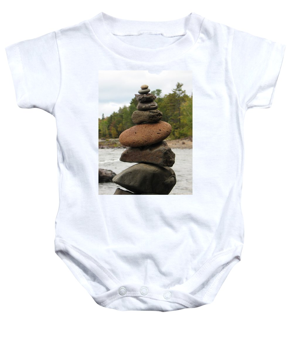 Rocks Baby Onesie featuring the photograph Top Of The Stack by Kelly Mezzapelle