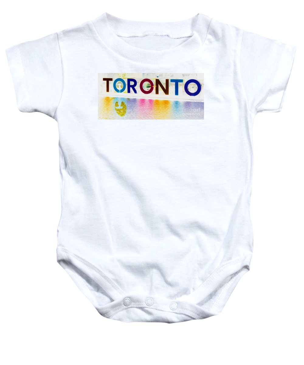 Toronto Baby Onesie featuring the photograph Toronto Sign In Muted Colours by Nina Silver
