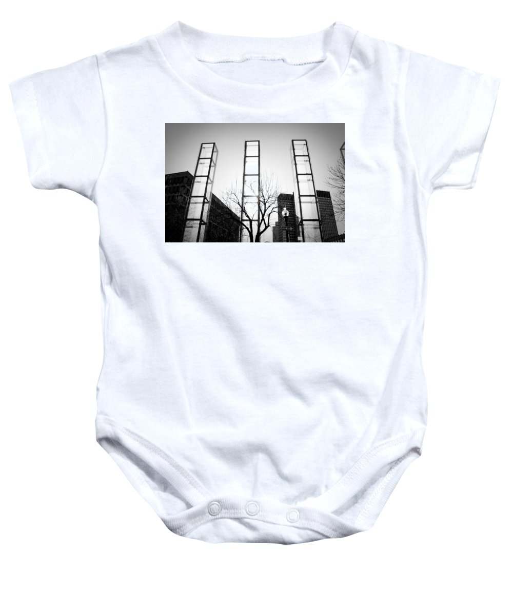 Black And White Baby Onesie featuring the photograph Towers by Greg Fortier