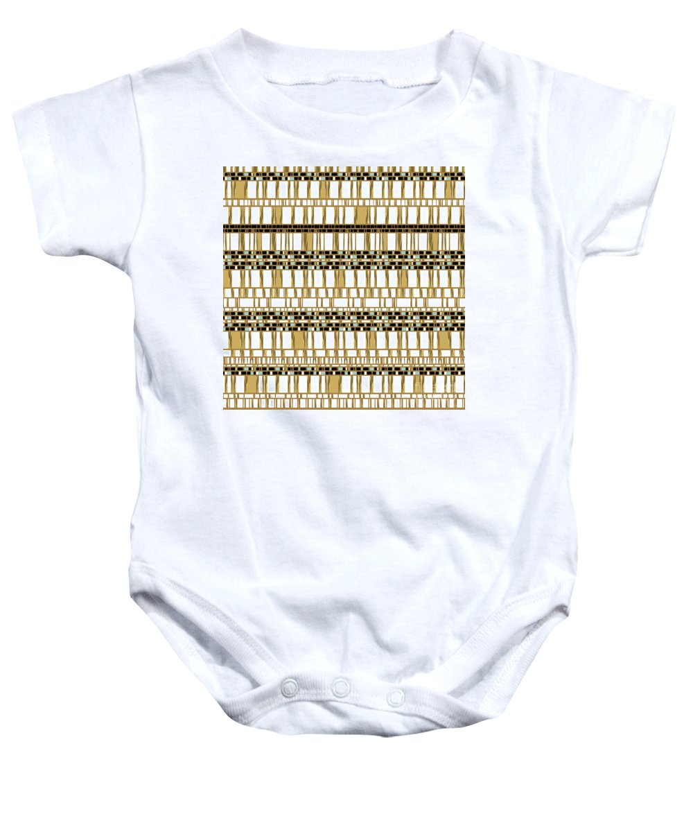 Ochre Gold Tribal Black-white Geometric Neutral Hip Fun Boho Bohemian Beaded Baby Onesie featuring the digital art Tradewind by Pamela Johnson Design