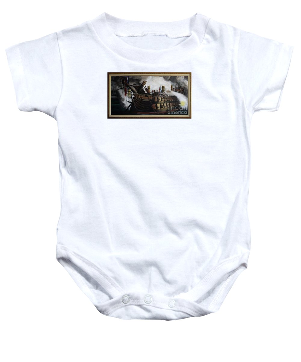 Destruction Of The Bucentaure Baby Onesie featuring the painting Trafalgar - Destruction Of The Bucentaure 72 X 36 In 182 X 91 Cm by Richard John Holden RA