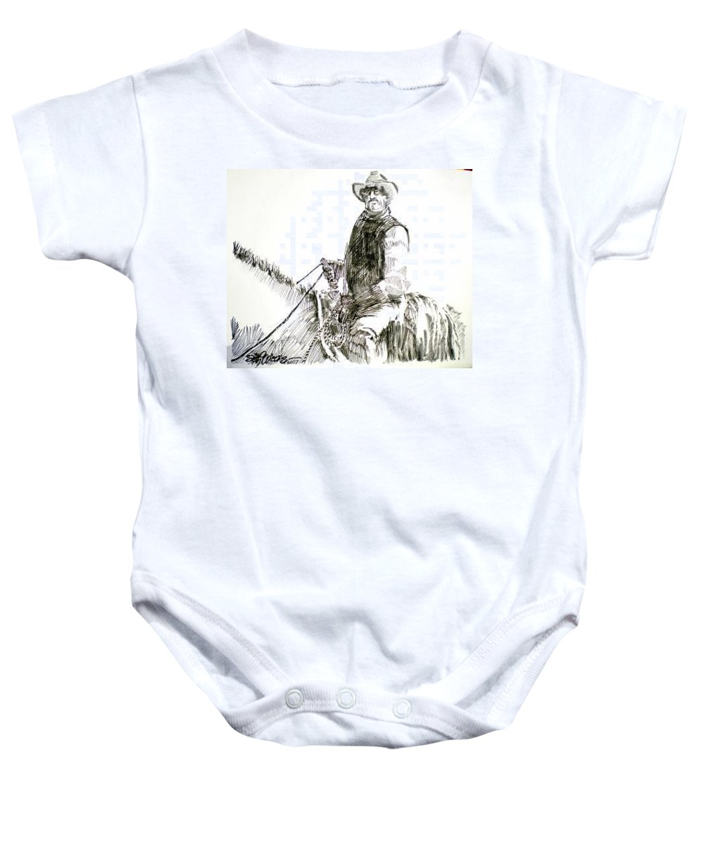 Trail Boss Baby Onesie featuring the drawing Trail Boss by Seth Weaver