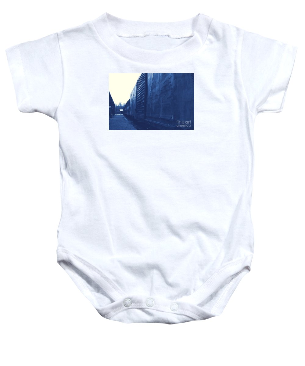 Train Baby Onesie featuring the photograph Trains 12 Cyanotype by Jay Mann