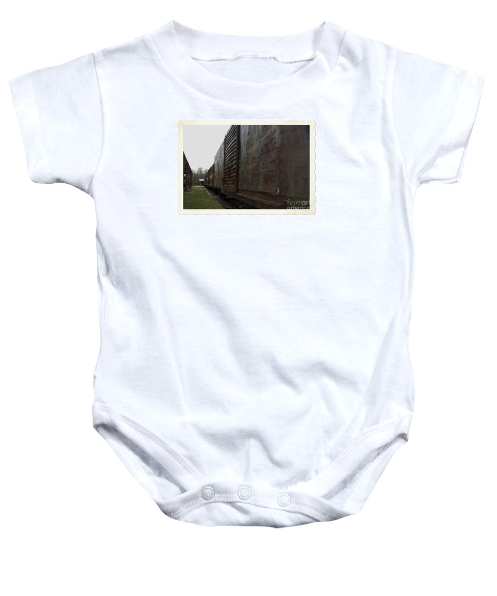 Train Baby Onesie featuring the photograph Trains 12 Autochrome Border by Jay Mann