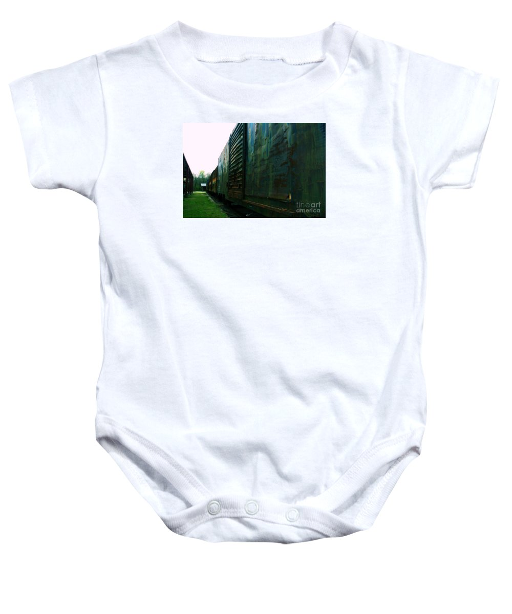 Train Baby Onesie featuring the photograph Trains 12 Cross Process by Jay Mann