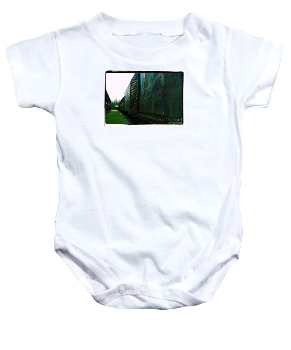 Train Baby Onesie featuring the photograph Trains 12 Cross Process Border by Jay Mann