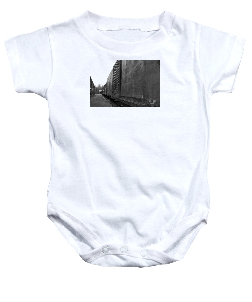 Train Baby Onesie featuring the photograph Trains 12 Blkwht by Jay Mann
