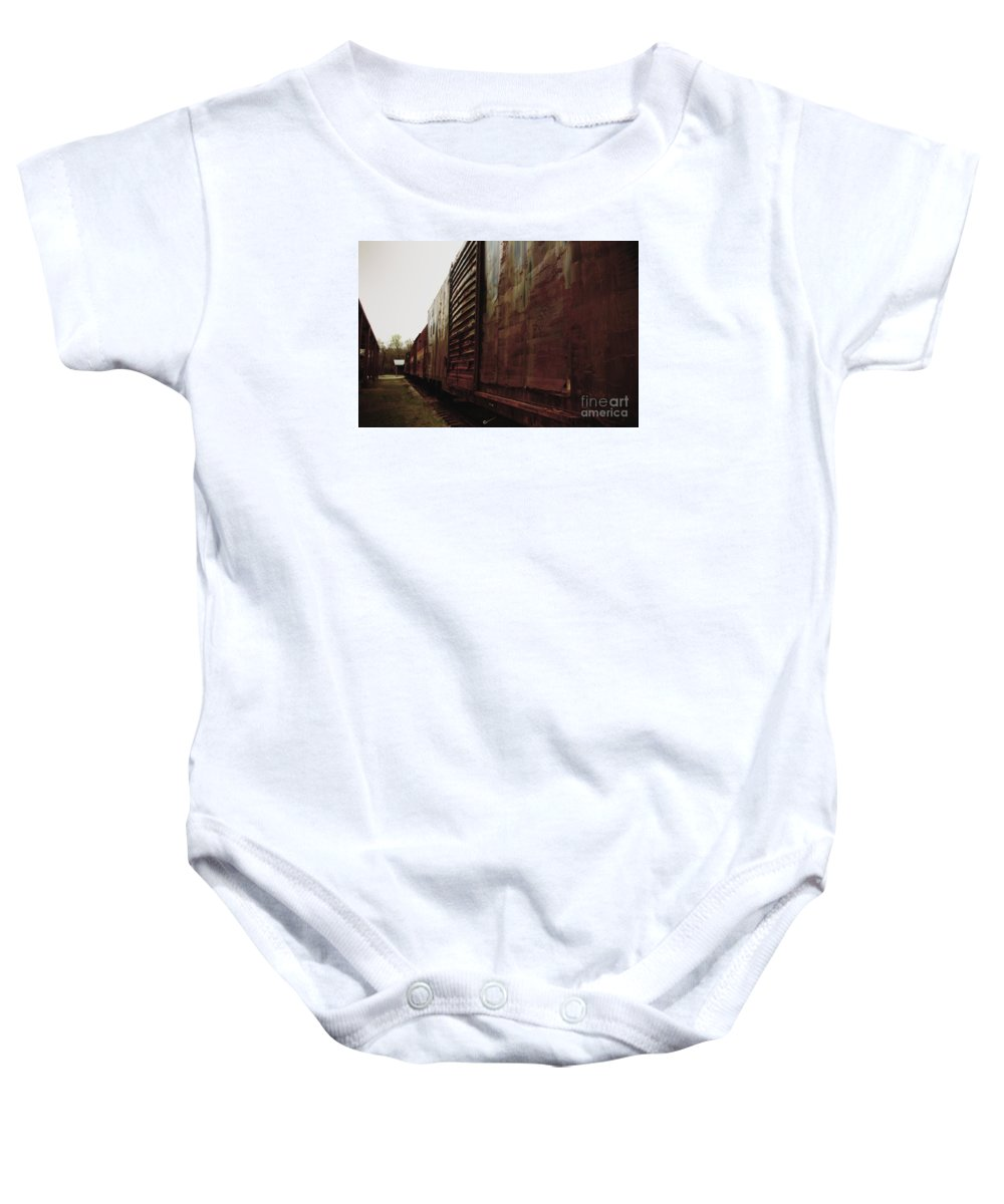 Train Baby Onesie featuring the photograph Trains 12 Retro by Jay Mann