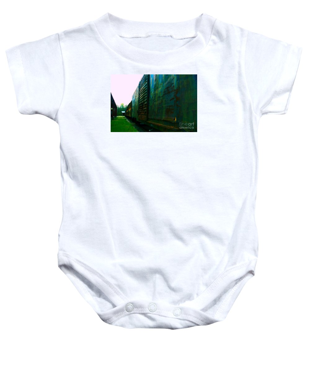 Train Baby Onesie featuring the photograph Trains 12 Selfoc by Jay Mann