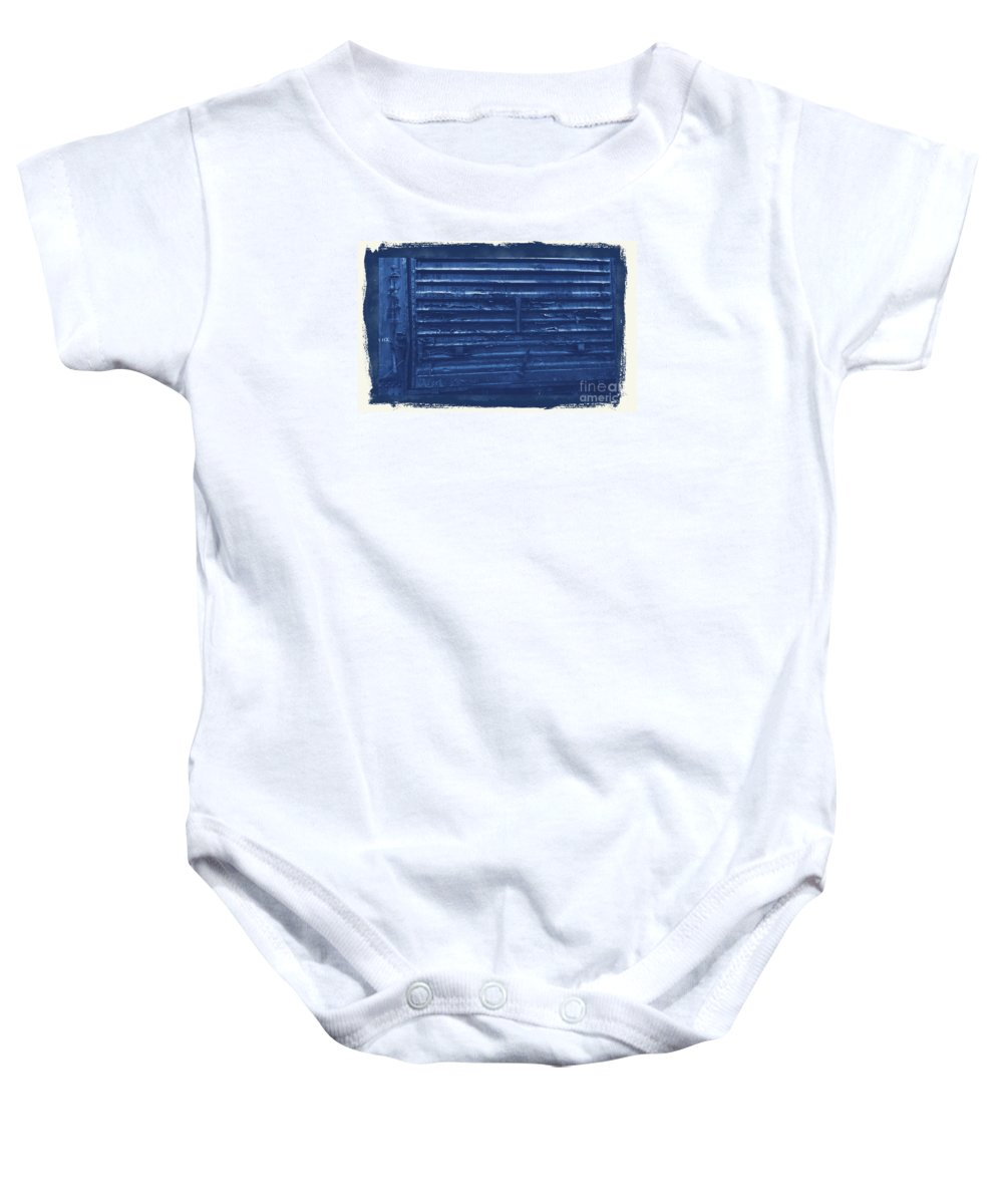 Train Baby Onesie featuring the photograph Trains 13 Cyanotype Border by Jay Mann