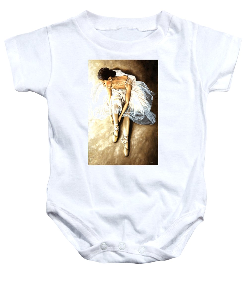 Ballet Baby Onesie featuring the painting Tranquil Preparation by Richard Young