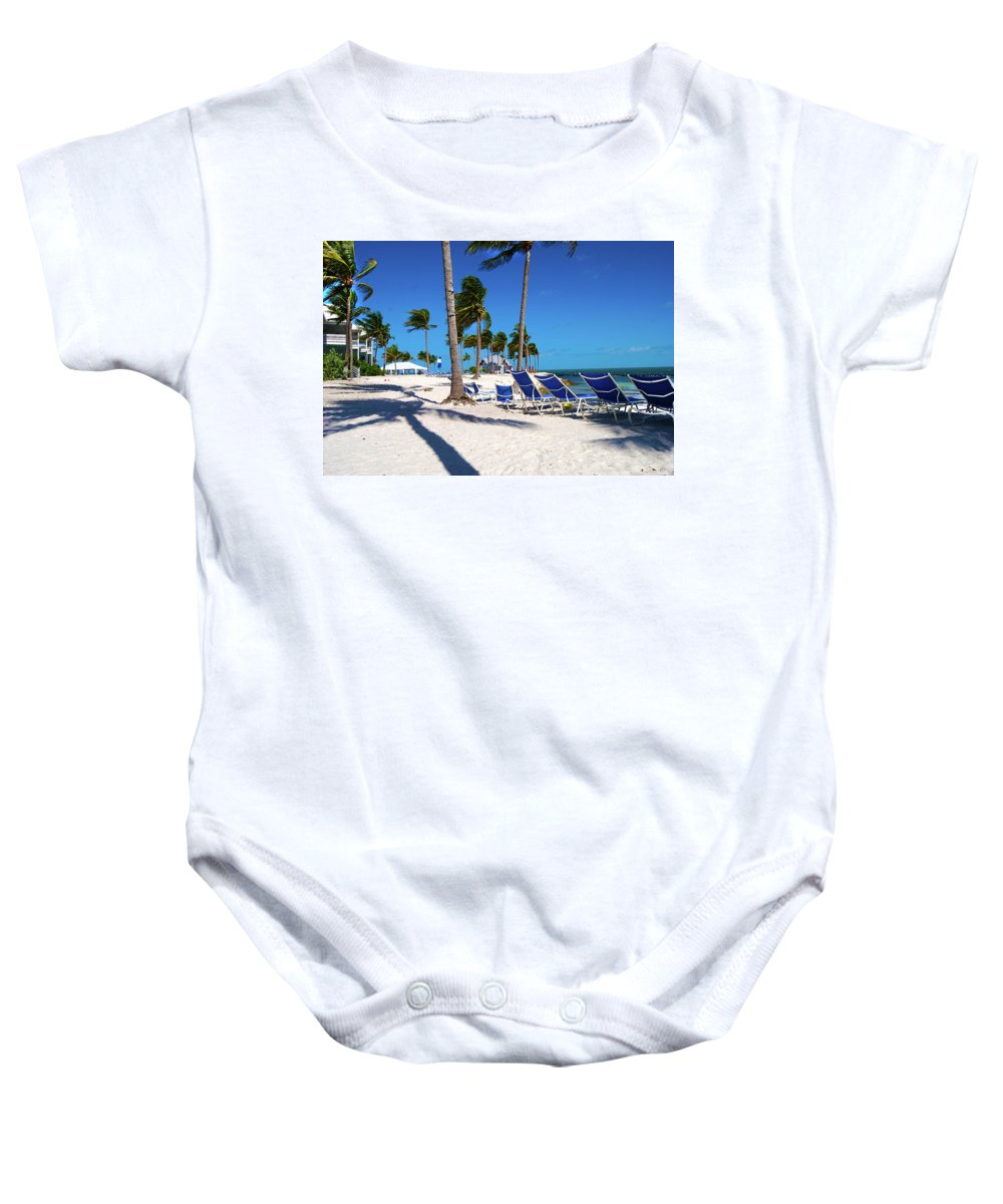 Tree Baby Onesie featuring the photograph Tranquility Bay Beach Paradise by Randy Aveille