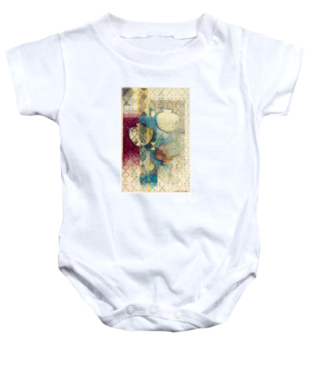 Mixed-media Baby Onesie featuring the painting Trans Xs No 1 by Kerryn Madsen- Pietsch