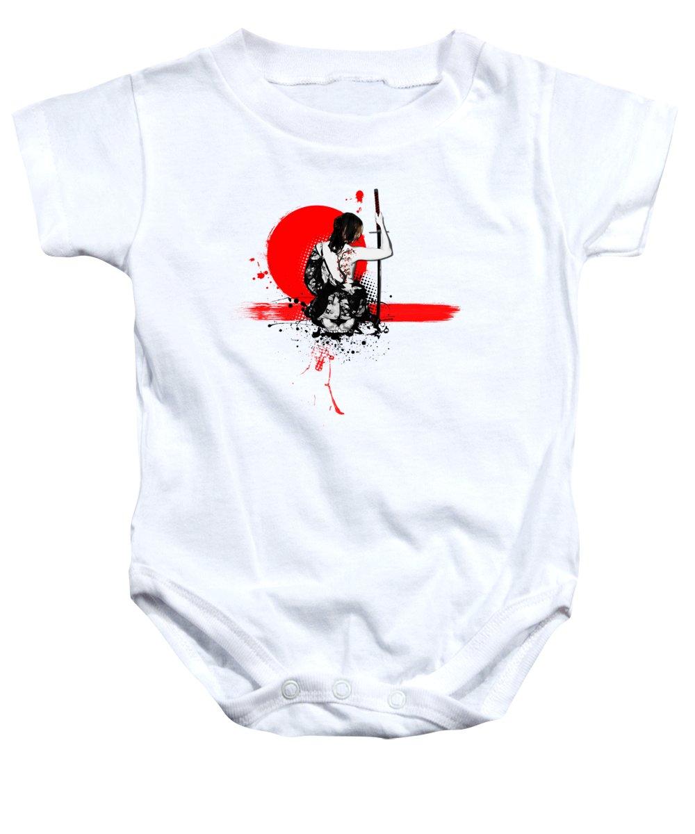 Samurai Baby Onesie featuring the digital art Trash Polka - Female Samurai by Nicklas Gustafsson