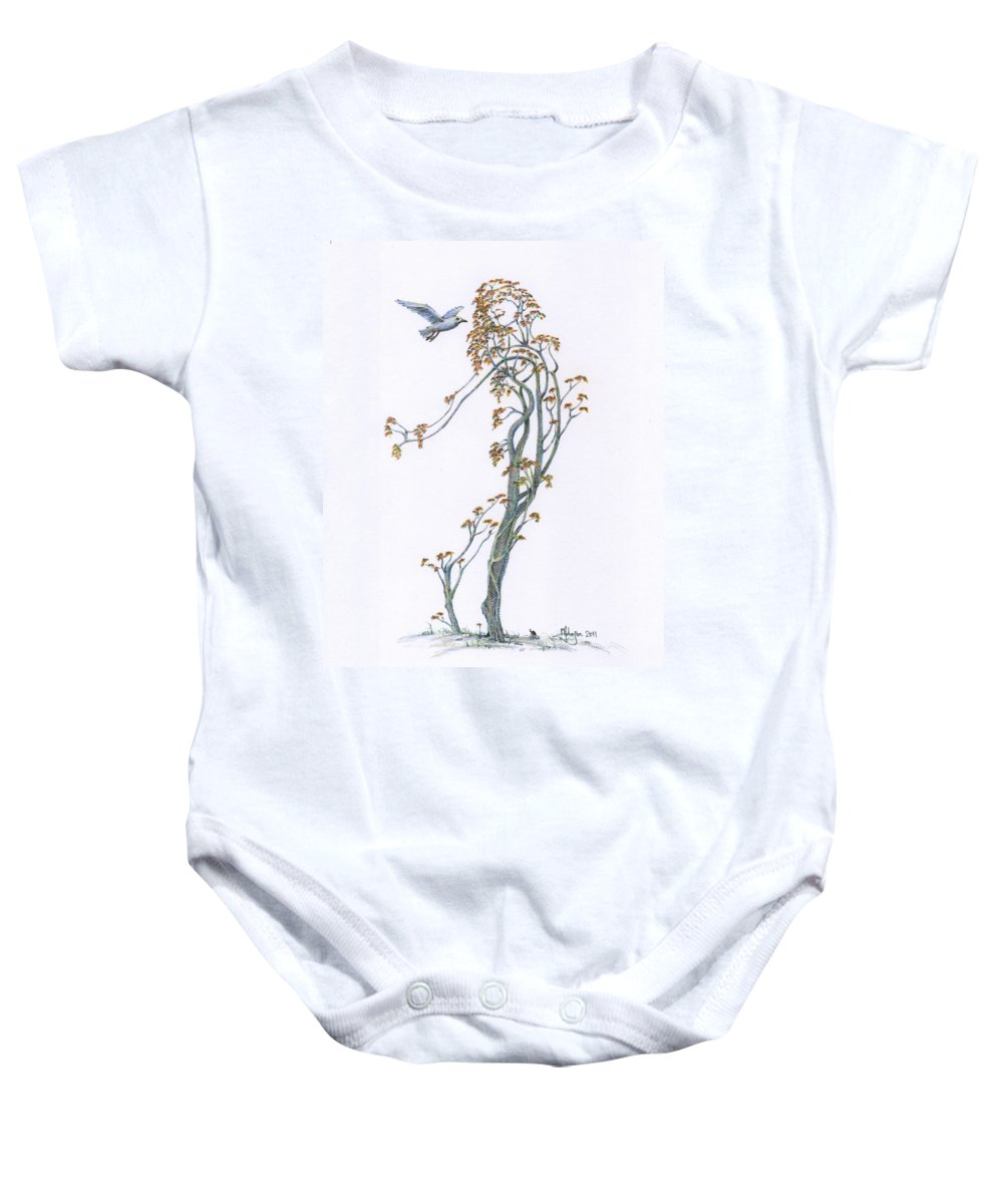 Mark Johnson Toronto Artist Drawings Baby Onesie featuring the drawing Traveling Companion Re-imagined by Mark Johnson