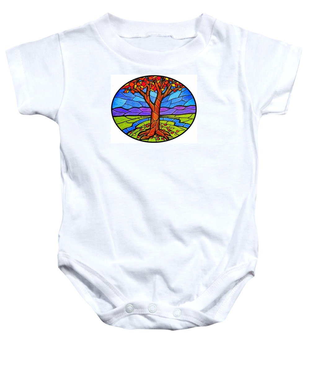 Tree Baby Onesie featuring the painting Tree Of Grace - Autumn by Jim Harris
