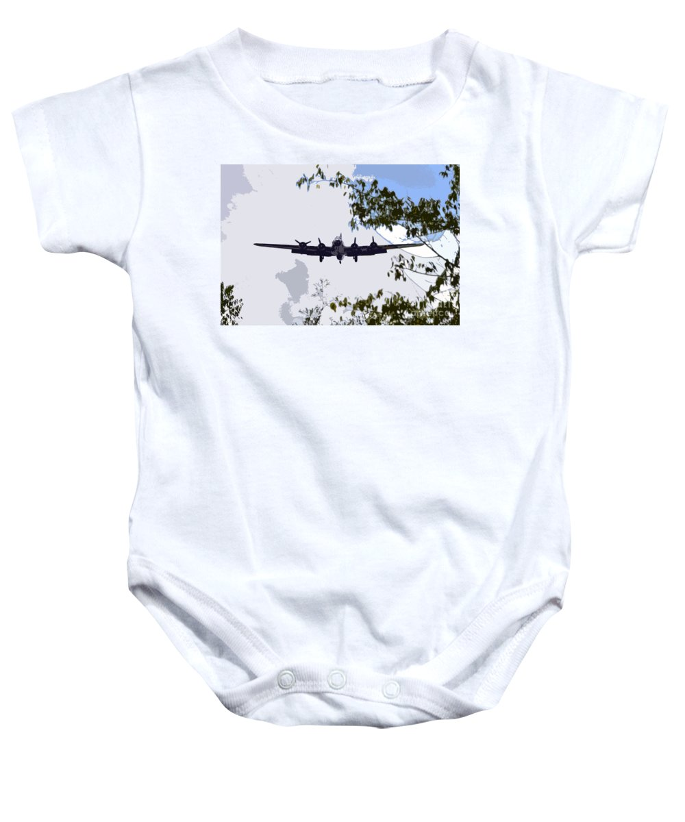 B 17 Baby Onesie featuring the photograph Tree Top Fly Er by David Lee Thompson
