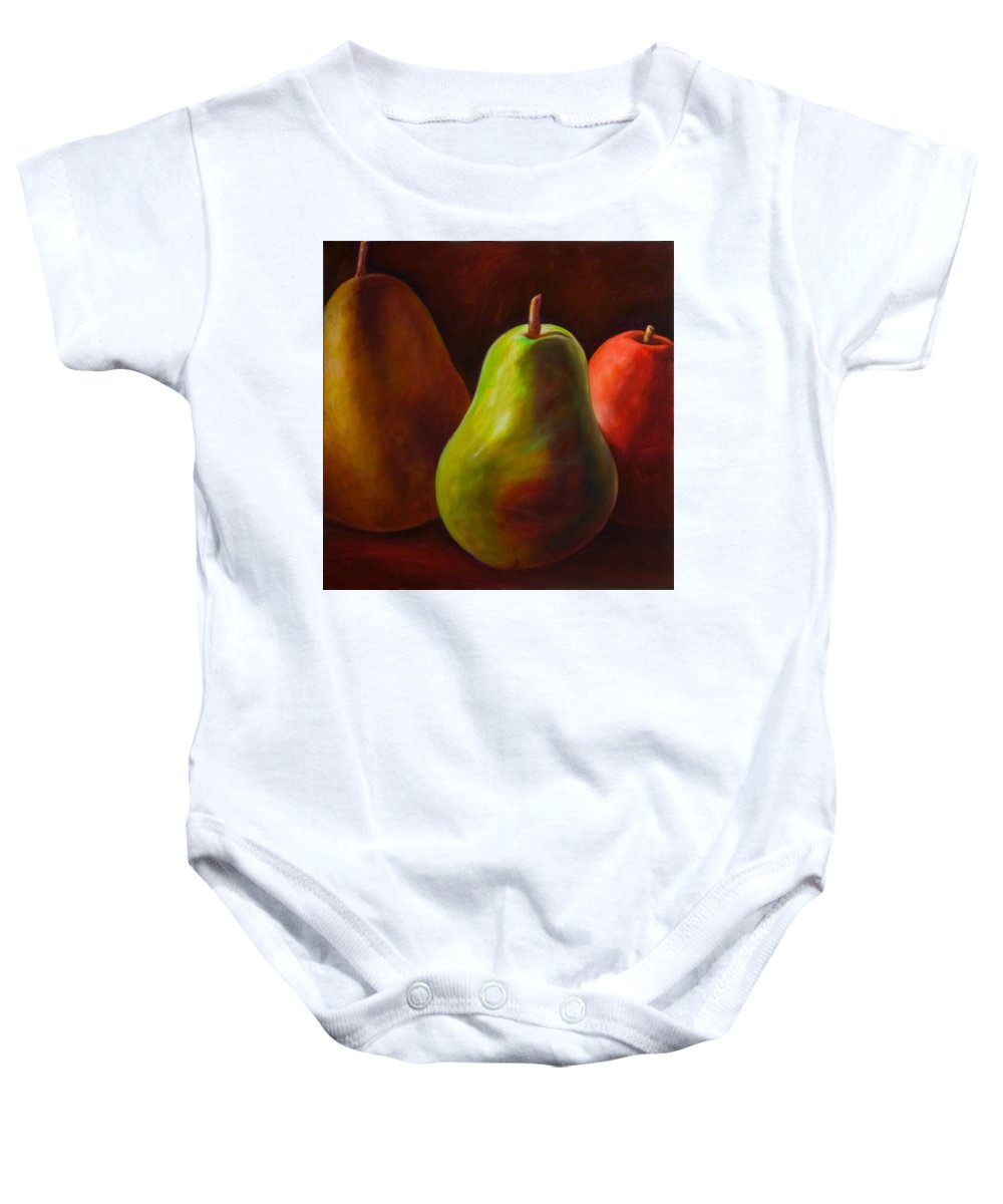 Fruit Baby Onesie featuring the painting Tri Pear by Shannon Grissom