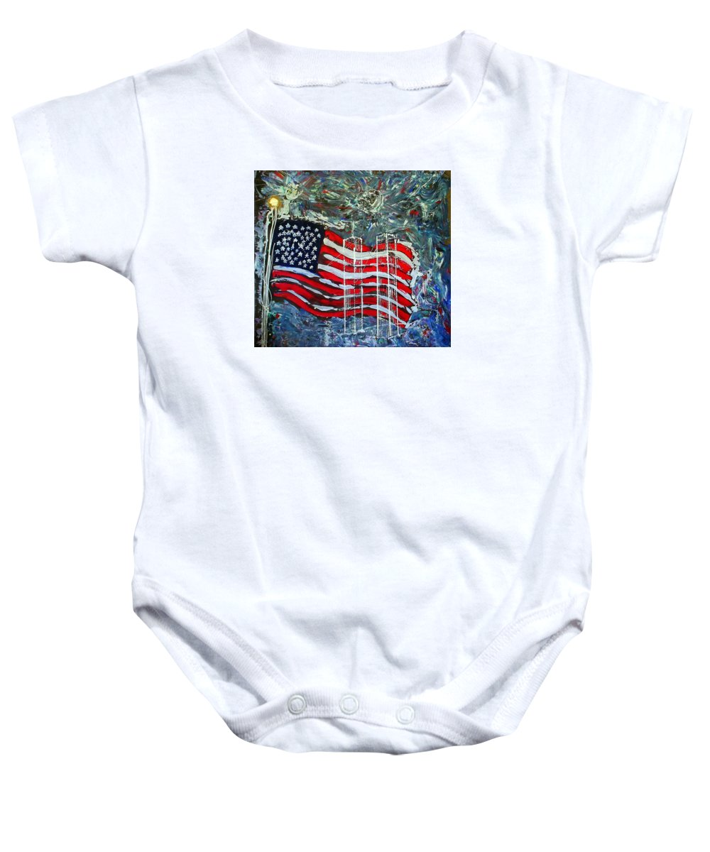 American Flag Baby Onesie featuring the mixed media Tribute by J R Seymour