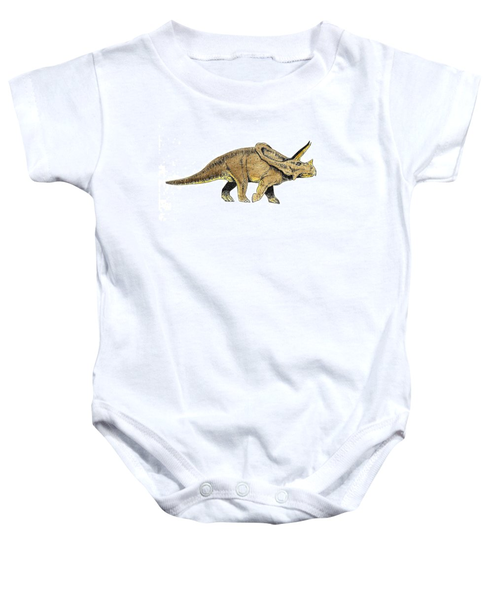 Dinosaur Baby Onesie featuring the painting Triceratops by Michael Vigliotti