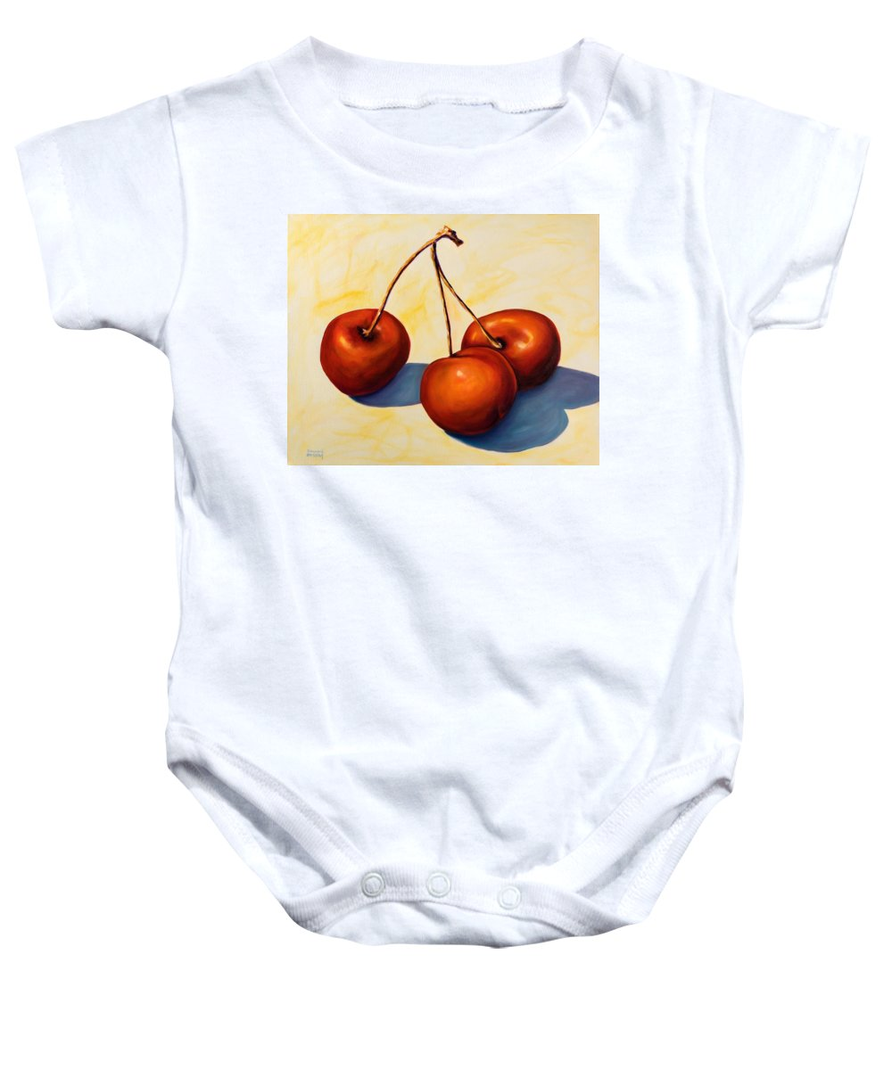 Cherries Baby Onesie featuring the painting Trilogy by Shannon Grissom