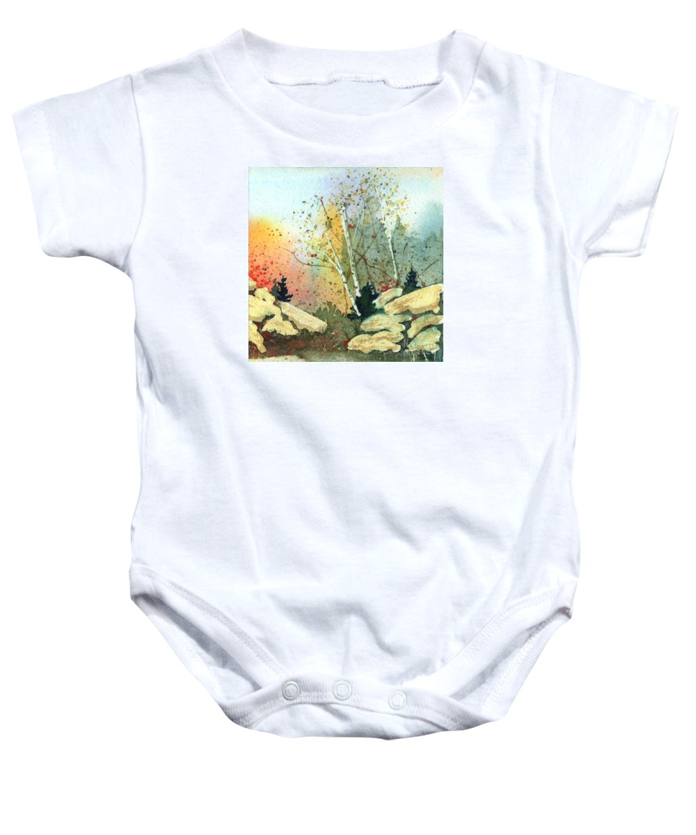 Landscape Baby Onesie featuring the painting Triptych Panel 3 by Lynn Quinn