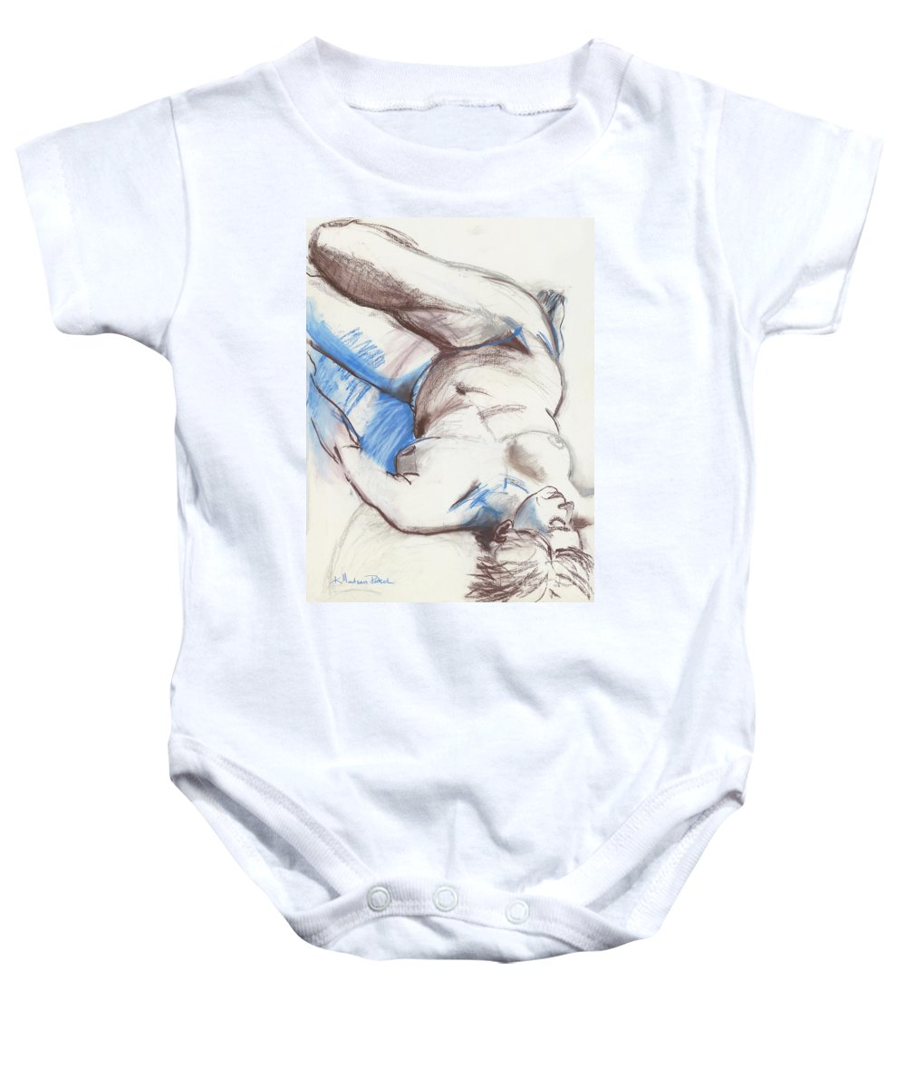 Figure Baby Onesie featuring the drawing Trish by Kerryn Madsen - Pietsch