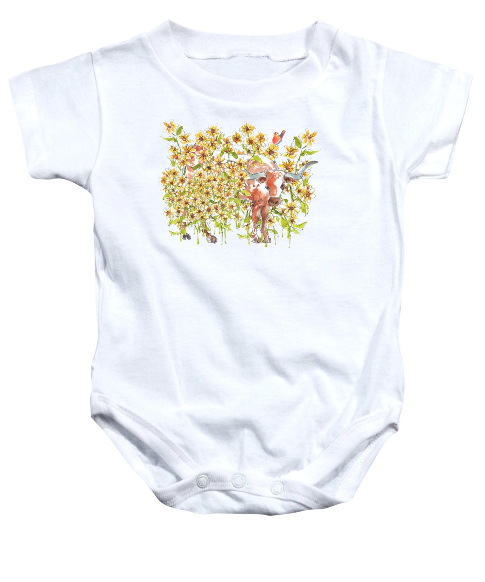 Longhorns Baby Onesie featuring the painting Trivia Too A Texas Longhorn Sunflowers Lh072 by Kathleen McElwaine