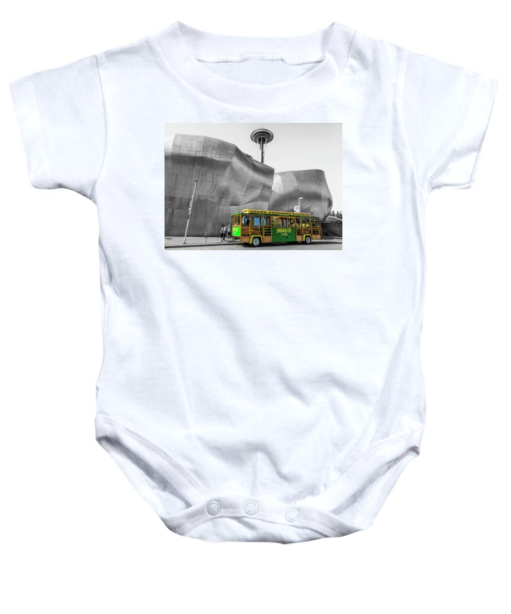 Emerald City Trolley Baby Onesie featuring the photograph Trolley by Erik Lawrenz