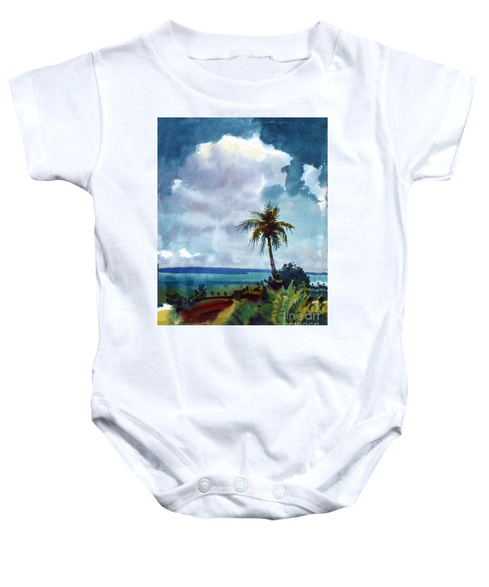 Tropic Baby Onesie featuring the painting Tropical Afternoon by Donald Maier