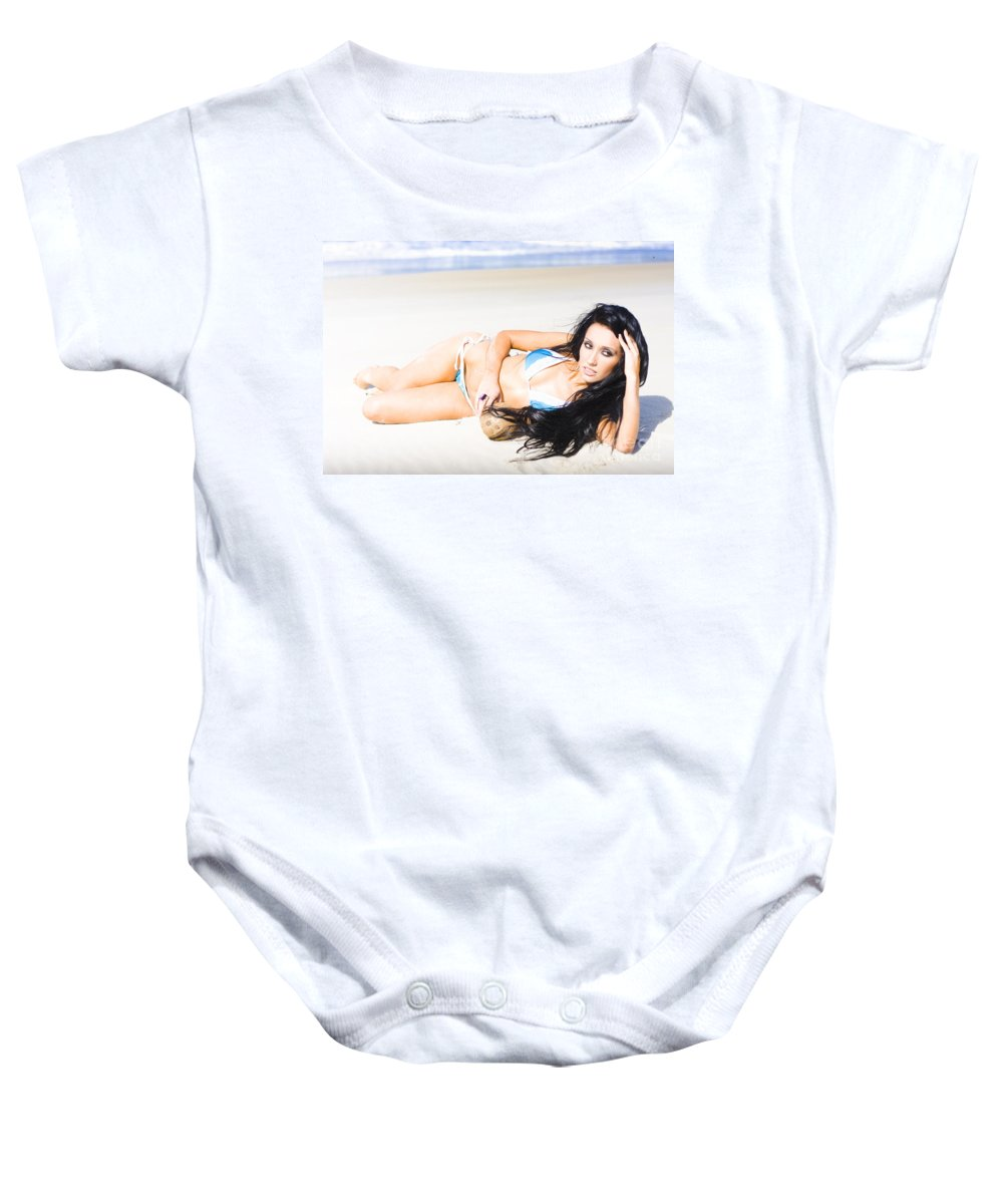 Caucasian Baby Onesie featuring the photograph Tropical Beach Woman by Jorgo Photography - Wall Art Gallery