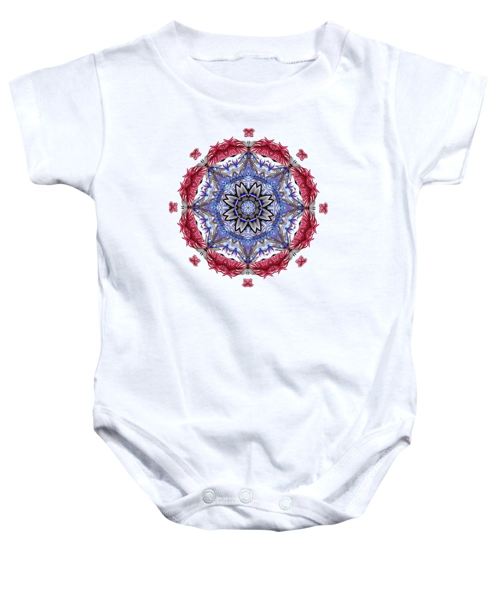Tropical Mandala Baby Onesie featuring the digital art Tropical Mandala By Kaye Menner by Kaye Menner