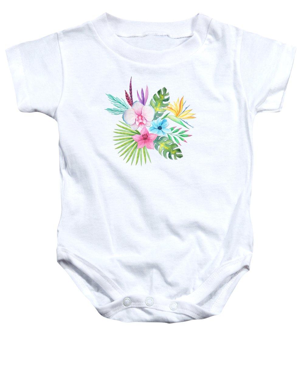 Tropical watercolor bouquet 3 onesie for sale by elaine plesser delicate baby onesie featuring the painting tropical watercolor bouquet 3 by elaine plesser izmirmasajfo