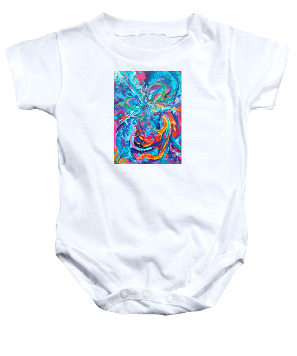 Original Artwork Baby Onesie featuring the painting Trouble at the Aquarium by Priscilla Batzell Expressionist Art Studio Gallery