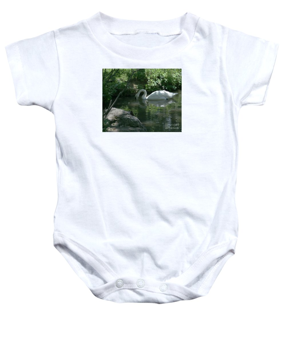 Trumpeter Swan Baby Onesie featuring the photograph Trumpeter Swan by Dawn Downour