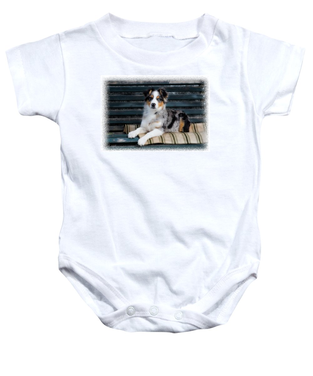 Blue Merle Baby Onesie featuring the photograph Tucsy by Micah Offman