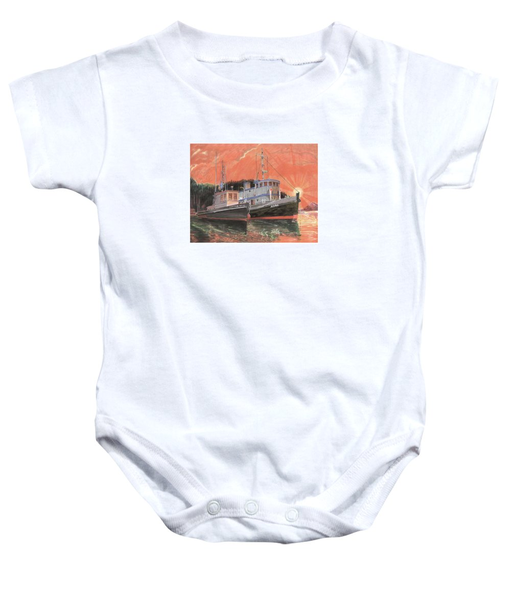 Tug Boats Anchored In Red Sky Baby Onesie featuring the painting Tug Boats Anchored In Red Sky by Jack Pumphrey