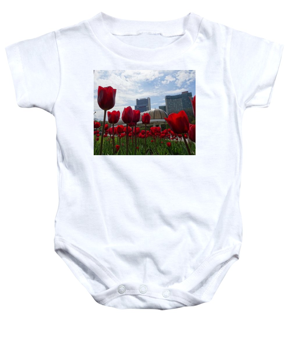 Tulips Baby Onesie featuring the photograph Tulips Blooming by Aurora Bautista