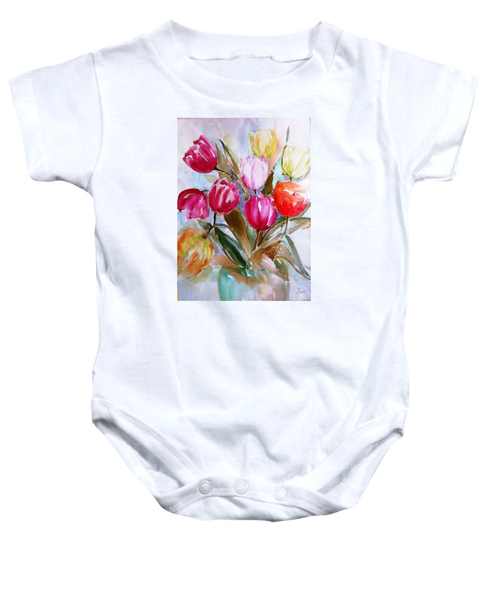 Tulips Baby Onesie featuring the painting Tulips by Hedwig Pen
