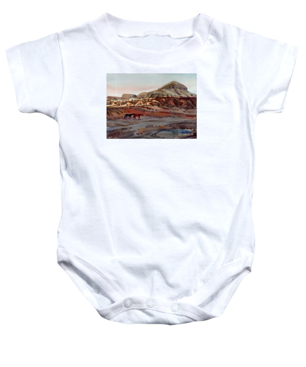 Horses Baby Onesie featuring the painting Two Horses In The Arroyo by Donald Maier