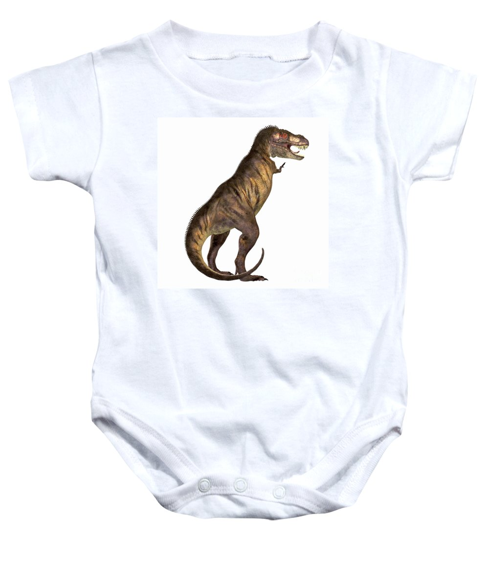Tyrannosaurus Rex Baby Onesie featuring the painting Tyrannosaurus Rex On White by Corey Ford