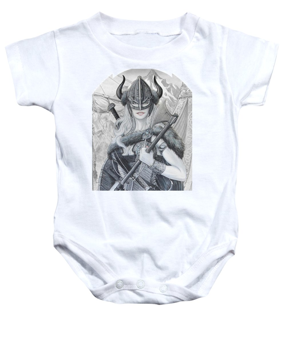 Viking Baby Onesie featuring the drawing Tyryja by Kristopher VonKaufman