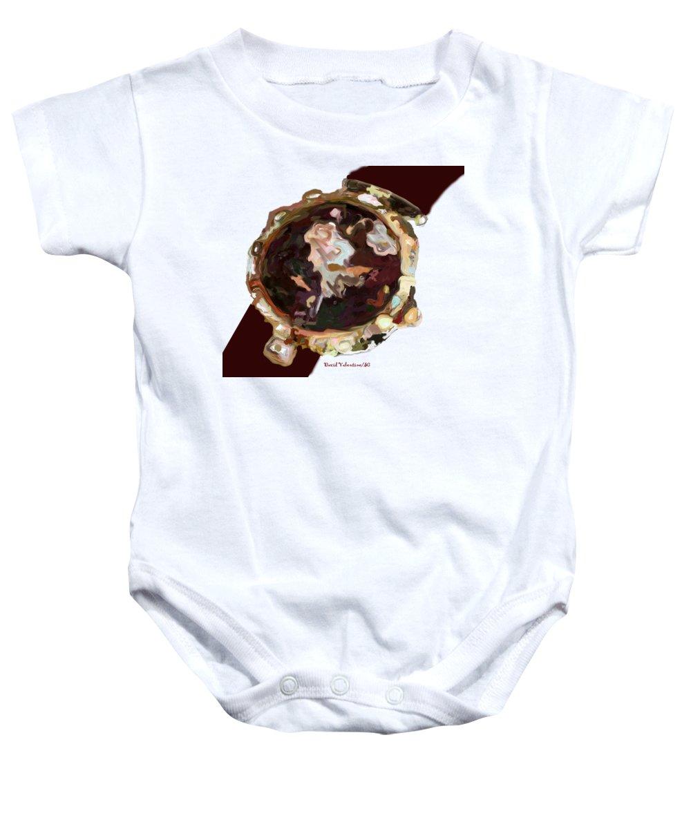 Luxury Watch Art T-shirts Baby Onesie featuring the digital art Umbria Florals Timepiece by David A Valentine