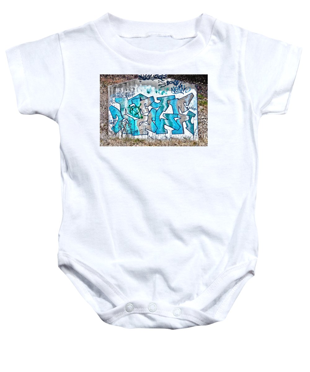 Graffiti Art Spray Paint Street Tag Abstract Wall Cool Creative Colorful Red Green Blue Yellow Orange Geometric Bridge Railroad Tracks Expression Vandalism Original Baby Onesie featuring the painting Under The Bridge Graffiti 7 by Jacob Brewer
