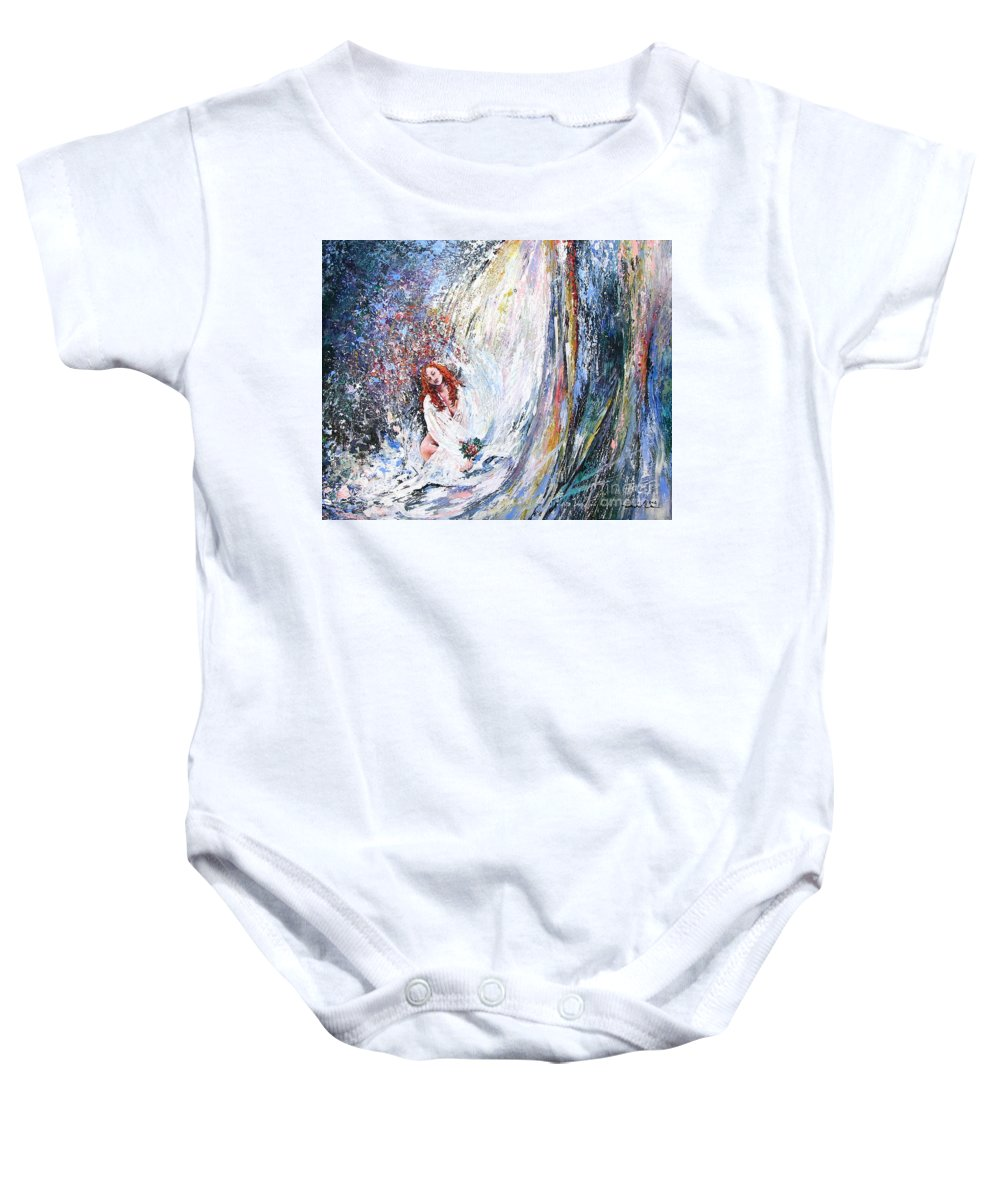 Acrylics Painting Woman Under Waterfall Baby Onesie featuring the Under The Waterfall by Miki De Goodaboom