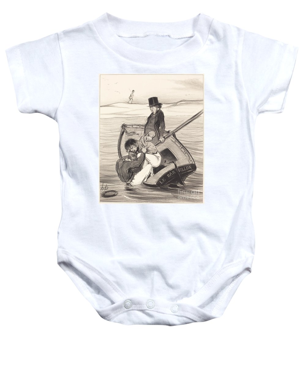 Baby Onesie featuring the drawing Une R?volte A Bord by Honor? Daumier