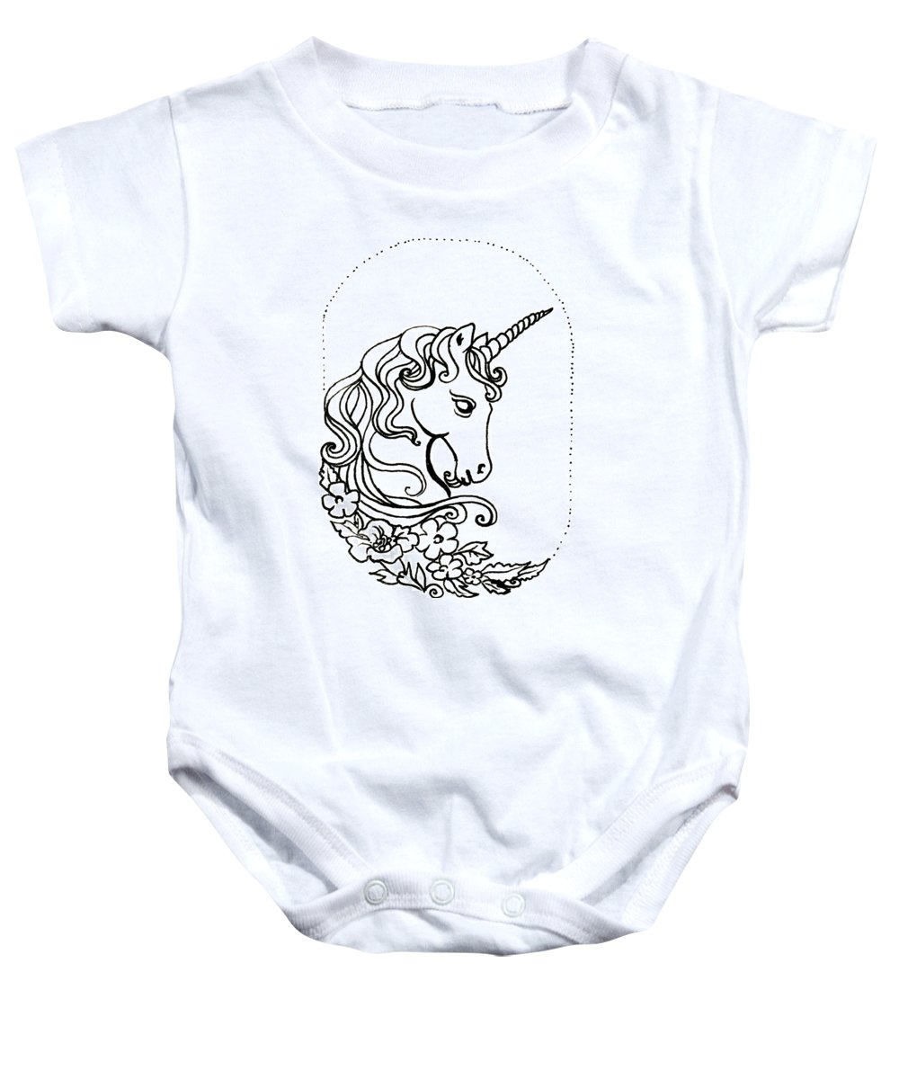 Unicorn Baby Onesie featuring the drawing Unicorn Cameo by Katherine Nutt